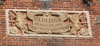 Willem Bilderdijk - Gable stone in top of facade to Grote Markt 11, the house Bilderdijk lived in when he died on the Grote Markt, Haarlem