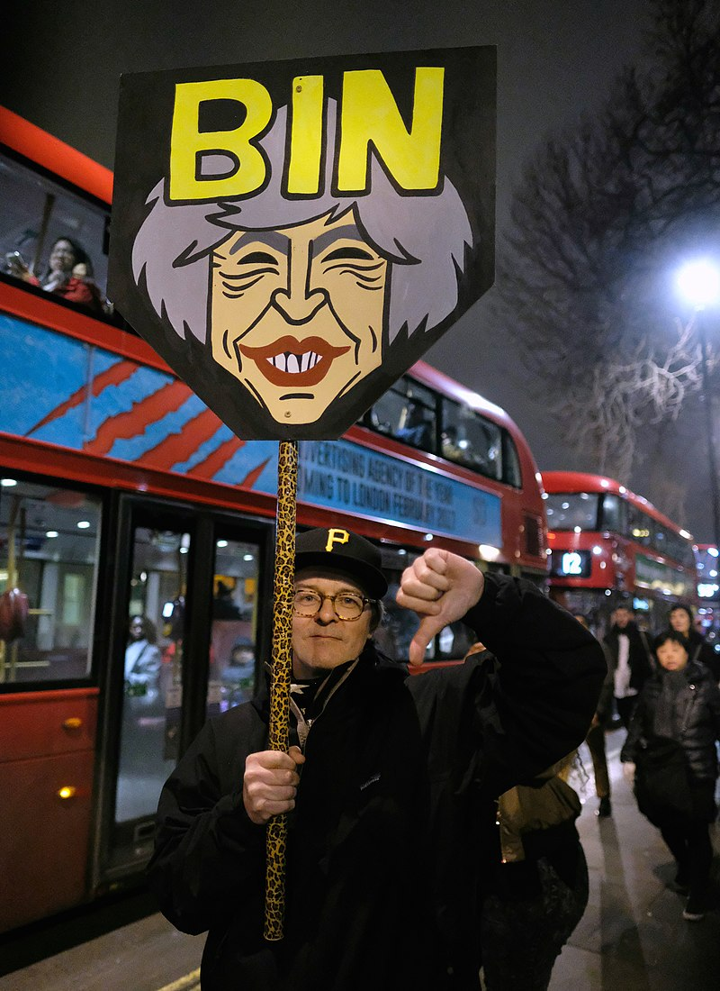 Bin Theresa May - Demonstrator at a Whitehall bus stop during London's anti-Trump rally. (32643345095).jpg