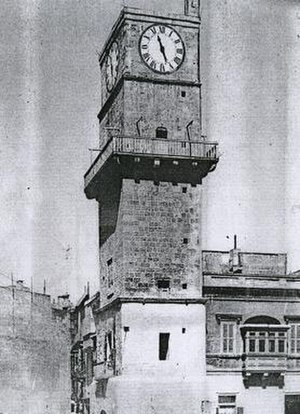 Birgu Clock Tower - View of the Birgu Clock Tower c. 1930s or early 1940s