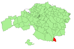 Location of Otxandio in Biscay.