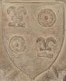 """Blason """"de ROGET"""" 1421 clef de voute chapelle N-D église de Toulonjac 12.png"""