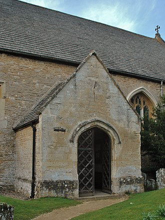 Bletchingdon - St Giles parish church porch, added in 1695, with four-centred arch