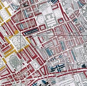 старая карта Блумсбери в Лондоне
