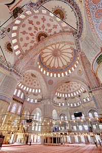 Interior of the Sultan Ahmed Mosque (Sultanahmet Camii or Blue Mosque) showing Chandelier