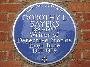 English: Blue plaque re Dorothy L Sayers on 23...