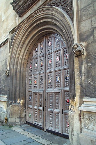 Bodleian Library - Library's entrance with the coats-of-arms of several Oxford colleges