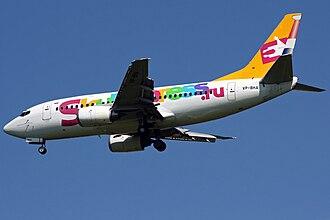 Sky Express - A Sky Express Boeing 737-500 landing at Vnukovo Airport, Russia. (2010)