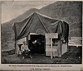 Boer War; a dentist outside his hut at a military hospital. Wellcome V0015599.jpg