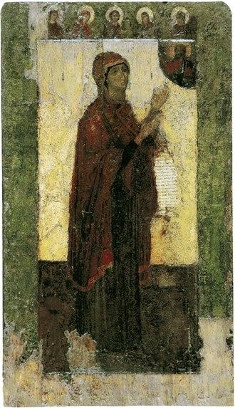 Theotokos of Bogolyubovo - The Bogolubskaya Icon of the Theotokos, 12th century (Vladimir-Suzdal Museum).