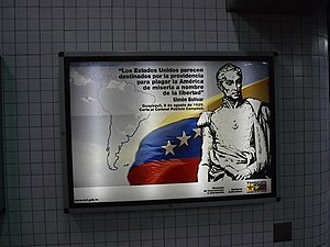 """Bolivarian propaganda - Ministry of Popular Power for Communication and Information board stating """"The United States appears by providence to plague America with misery in the name of freedom."""""""
