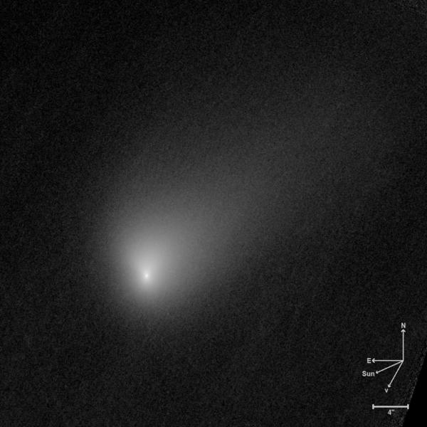 Imagen del telescopio espacial Hubble del cometa interestelar 2I/Borisov que fue descubierto en 2018 y en diciembre de 2020 alcanzará su punto más cercano al Sol.  Crédito: HST.