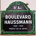 Boulevard Haussmann plaque, Paris 2011.jpg