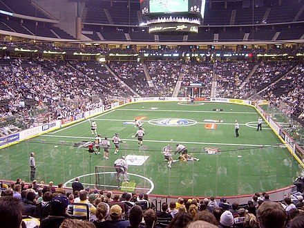 A game of box lacrosse in the NLL. Box Lacrosse.jpg