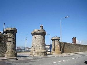 Bramley-Moore Dock - Dock gates on the Dock Road