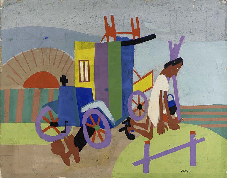 File:Breakdown, by William H. Johnson.jpg Artist William H. Johnson  (1901–1970) Blue pencil.svg wikidata:Q1883000 Title Breakdown Description Architecture - vehicle - automobile, Ethnic - African-American, Figure female - full length, Landscape - time - sunset, State of being - other - accident Datecirca 1940-1941 MediumScreenprint on paper Dimensions14 1/4 x 18 in. (36.1 x 45.6 cm) Collection Smithsonian American Art Museum  Blue pencil.svg wikidata:Q1192305 Accession number 1971.128 Credit lineSmithsonian American Art Museum, Gift of Mrs. Douglas E. Younger Source/Photographer https://www.flickr.com/photos/smithsonian/4248012132/ http://americanart.si.edu/collections/search/artwork/?id=11567
