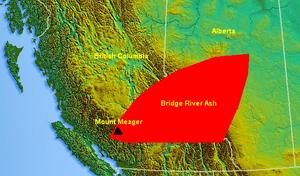 Bridge River Ash - Map of the Bridge River Ash