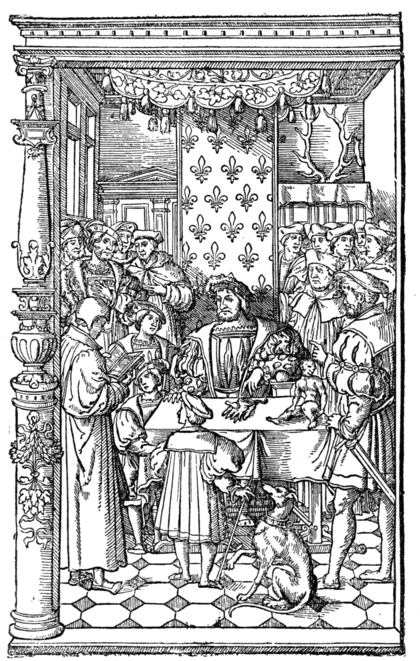 ANTOINE MACAULT READING HIS TRANSLATION OF DIODORUS SICULUS TO KING FRANCIS I. Designed by Holbein. Engraved by Geoffroy Tory?