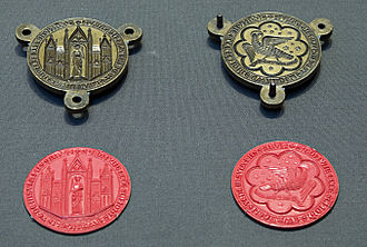 Inchaffray Abbey - Two-sided pendant seals from Inchaffray Abbey, late 13th century, now in the British Museum.