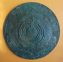 An Ancient Greek warrior's shield-its circular shape and gently sloping surface, with a central raised area, is a shape shared by many shield volcanoes Bronze votive shield.JPG