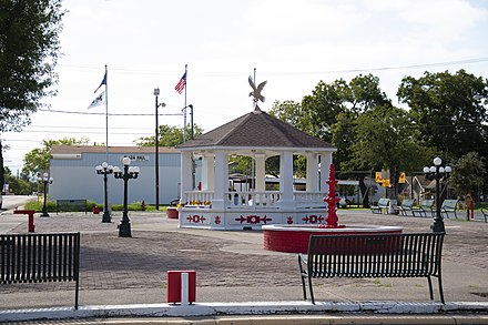Brown Plaza in Del Rio is named for its donor, George Washington Brown (1836-1918), both a county and district clerk originally from North Carolina. The plaza was restored in 1969. Brown Plaza.jpg