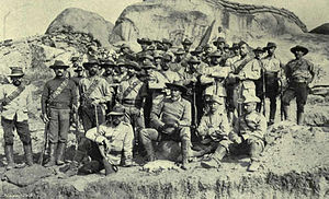 Frederick Selous - Selous (front seated) leader of H Troops of Bulawayo Field Force, Matabeleland, 1890s.
