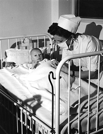 University of Bonn - A nurse attending to an infant in the University Hospital of Bonn in November 1953