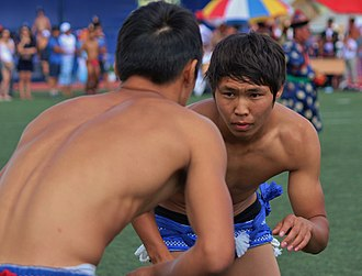 Buryats - A Buryat wrestling match during the Altargana Festival