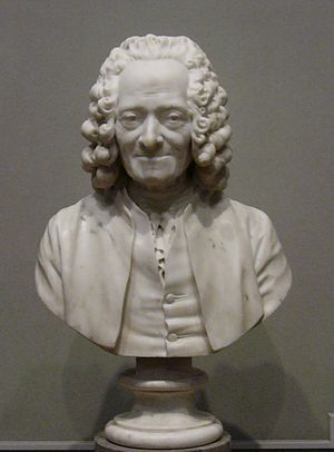 Bust of Voltaire with wig