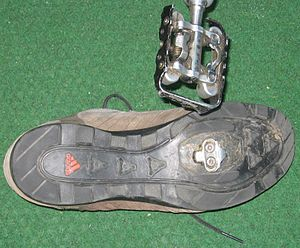 Cycling shoe - Adidas mountain cycling shoe using two-bolt SPD-style cleat for clipless pedal