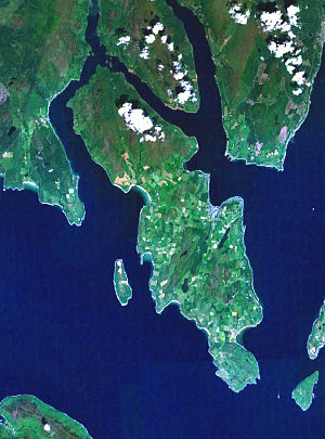 Isle of Bute - Satellite image of the Isle of Bute. To the west of Bute is the island of Inchmarnock and to the east are The Cumbraes.