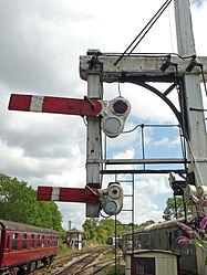 Butterley CF Station, Signal Box & bracket signal (6097949978).jpg