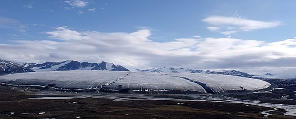 A Bylot Island glacier, Sirmilik National Park, Nunavut. This mountain glacier is one of many coming down from the interior ice cap on top of the Byam Martin Mountains. Bylot Island Glacier (cropped).jpg