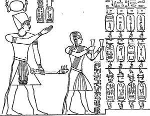Abydos King List - The start of the king list, showing Seti and his son - Ramesses II - on the way to making an offering to Ptah-Seker-Osiris, on behalf of their 72 ancestors - the contents of the king list. Ramesses is depicted holding censers.
