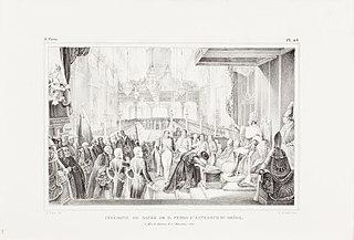Cérémonie de sacre de D. Pedro 1er, Empereur du Brésil, à Rio de Janeiro, le 1er, Decembre 1822