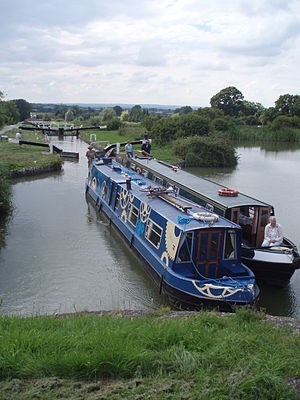 Sustrans - Canal boat decked in Sustrans logo