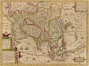 "Jodocus Hondius - Hondius's (or his predecessors') use of multiple sources can be illustrated by this map of Asia, which shows Beijing three times: twice as Khanbaliq (Combalich in the land of ""Kitaisk"" on the Ob River, and Cambalu, in ""Cataia"") and once as Paquin (Beijing), in the prefecture of Xuntien (Shuntian)"