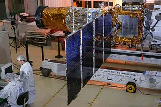 CoRoT - The CoRoT satellite in the integration hall of Thales Alenia Space, Cannes