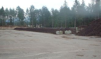 Windrow composting - Maturing windrows at an in-vessel composting facility.