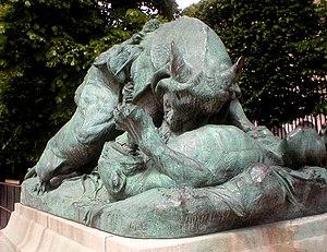 Auguste Cain - Image: Cain Deux lionnes attaquant un Taureau