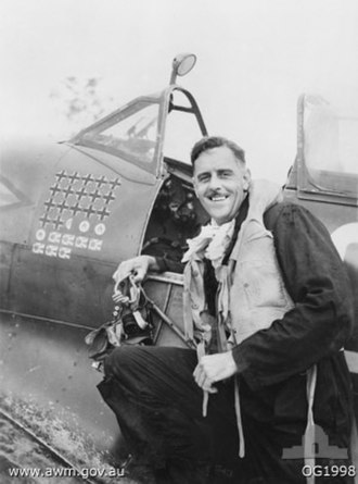 Clive Caldwell - Caldwell with his Spitfire on Morotai in December 1944