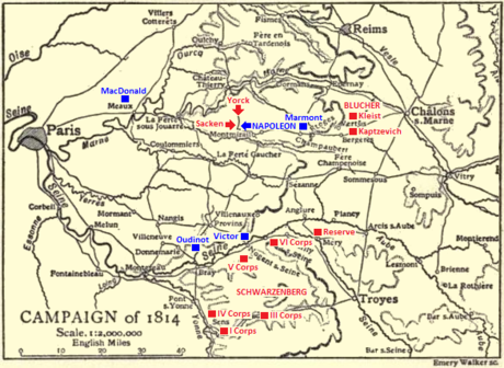 Black and yellow map of the Campaign of 1814 in 1:2,000,000 scale with troop positions added