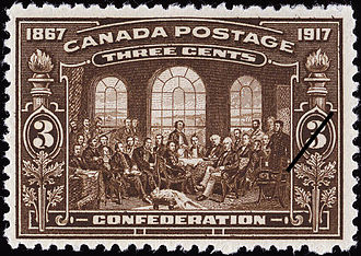 "Fathers of Confederation - A Canadian 3 cent stamp from 1917 based on  Robert Harris's 1884 painting ""Fathers of Confederation""."