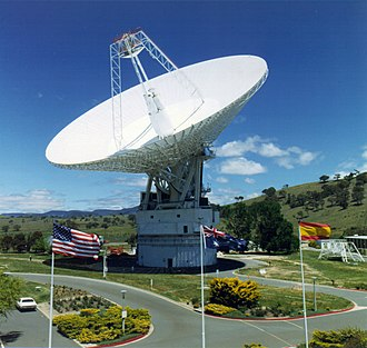 X band - 70 meter X-band spacecraft communication antenna of the NASA Deep Space Network in Canberra, Australia.