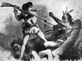 Canoe Fight - Samuel Dale in the Canoe Fight.