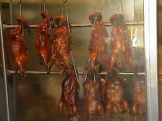 Chinatown - A display of Cantonese roast duck for sale in a delicatessen in Chinatown, Los Angeles