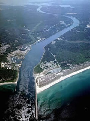 Cape Cod Canal - Aerial photo of the East End of the Cape Cod Canal and Scusset Beach State Reservation in southeastern Massachusetts, USA
