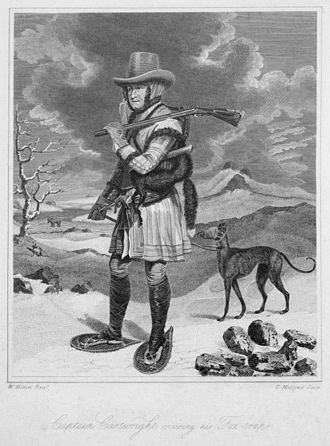 """George Cartwright (trader) - """"Captain Cartwright Visiting his Fox Traps."""" T. Medland's 1792 engraving of W. Hilton's ca. 1791 colour oil painting."""