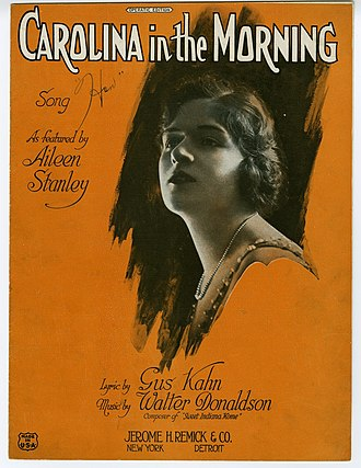 "Aileen Stanley - Stanley on the cover of 1922 sheet music for ""Carolina in the Morning""."