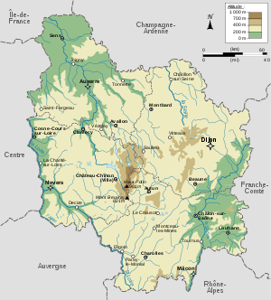Map of the Burgundy region.