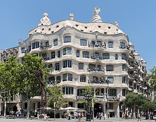apartment building in Barcelona, designed by Antoni Gaudí